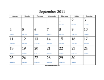 September 2011 Calendar with Jewish equivalents