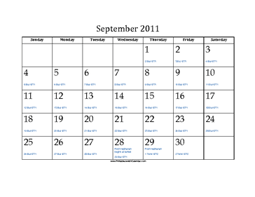 September 2011 Calendar with Jewish equivalents and holidays