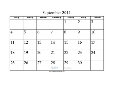 September 2011 Calendar with Jewish holidays