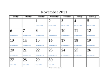 November 2011 Calendar with Jewish equivalents and holidays
