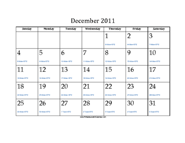 December 2011 Calendar with Jewish equivalents