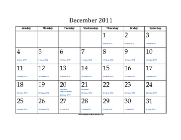 December 2011 Calendar with Jewish equivalents and holidays