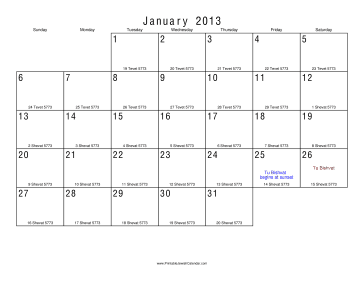 January 2013 Calendar with Jewish equivalents