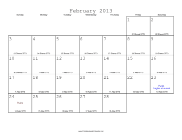 February 2013 Calendar with Jewish equivalents
