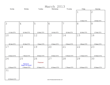 March 2013 Calendar with Jewish equivalents