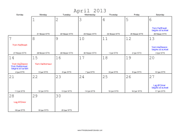 April 2013 Calendar with Jewish equivalents