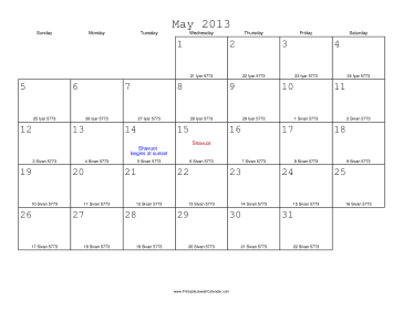 May 2013 Calendar with Jewish equivalents