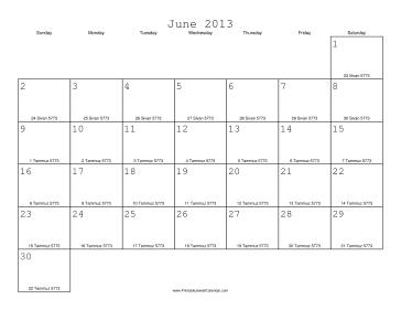 June 2013 Calendar with Jewish equivalents