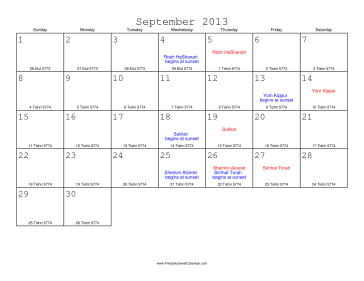 September 2013 Calendar with Jewish equivalents