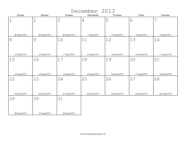 December 2013 Calendar with Jewish equivalents