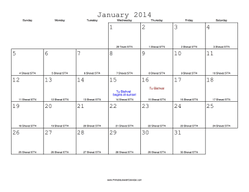 January 2014 Calendar with Jewish equivalents