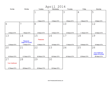 April 2014 Calendar with Jewish equivalents