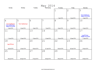May 2014 Calendar with Jewish equivalents