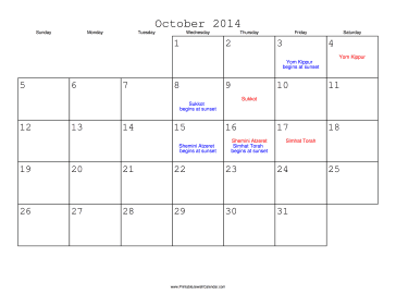 October 2014 Calendar with Jewish holidays