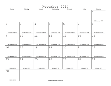 November 2014 Calendar with Jewish equivalents