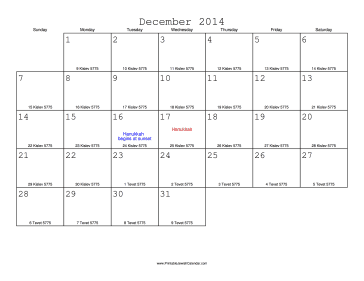 December 2014 Calendar with Jewish equivalents
