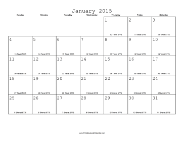 January 2015 Calendar with Jewish equivalents
