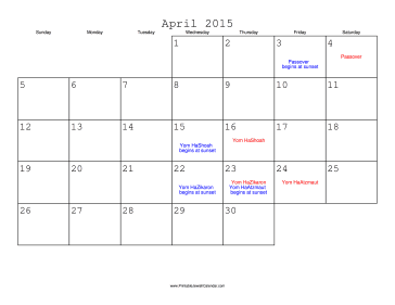 April 2015 Calendar with Jewish holidays