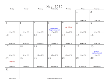 May 2015 Calendar with Jewish equivalents