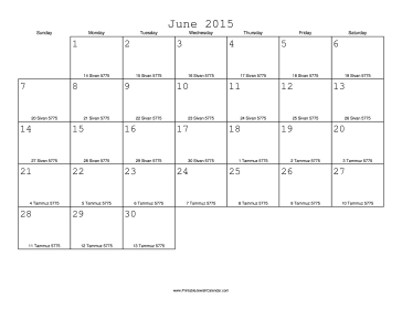 June 2015 Calendar with Jewish equivalents