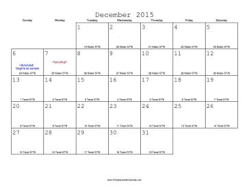 December 2015 Calendar with Jewish equivalents