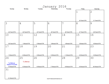 January 2016 Calendar with Jewish equivalents