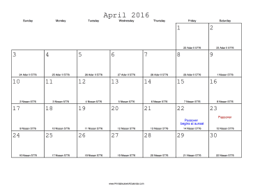 April 2016 Calendar with Jewish equivalents