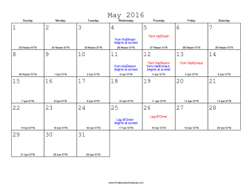 May 2016 Calendar with Jewish equivalents