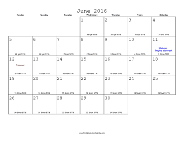June 2016 Calendar with Jewish equivalents