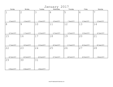 January 2017 Calendar with Jewish equivalents