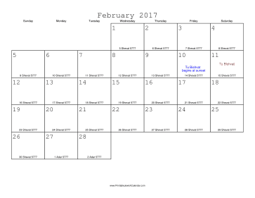 February 2017 Calendar with Jewish equivalents