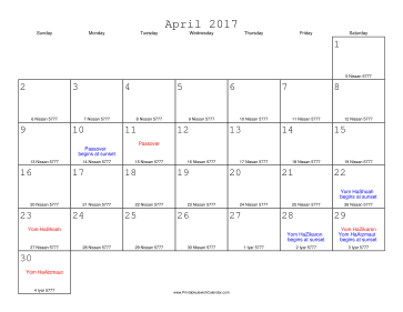 April 2017 Calendar with Jewish equivalents