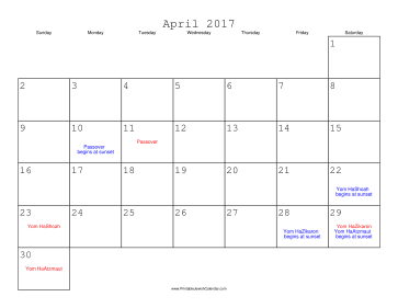 April 2017 Calendar with Jewish holidays