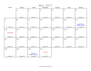 May 2017 Calendar with Jewish equivalents