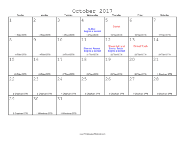 October 2017 Calendar with Jewish equivalents
