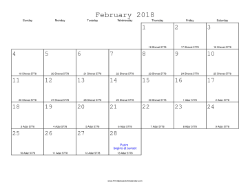 February 2018 Calendar with Jewish equivalents