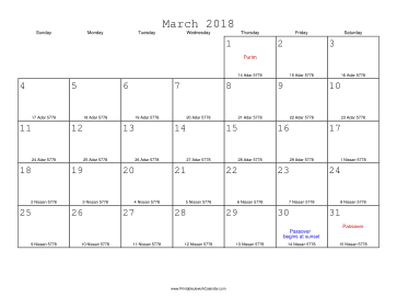 March 2018 Calendar with Jewish equivalents
