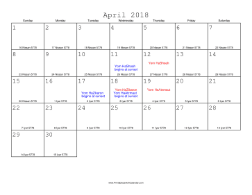 April 2018 Calendar with Jewish equivalents
