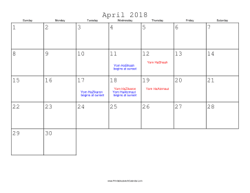 April 2018 Calendar with Jewish holidays
