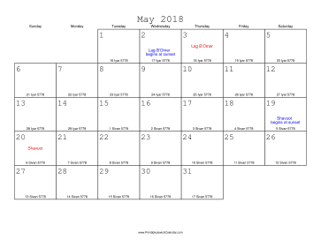 May 2018 Calendar with Jewish equivalents