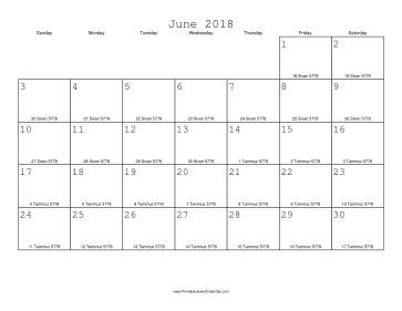 June 2018 Calendar with Jewish equivalents