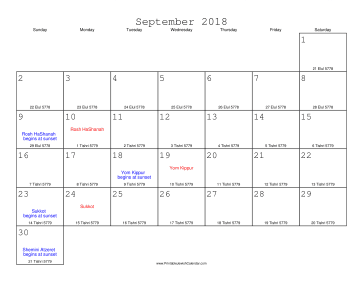 September 2018 Calendar with Jewish equivalents