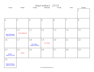 September 2018 Calendar with Jewish holidays