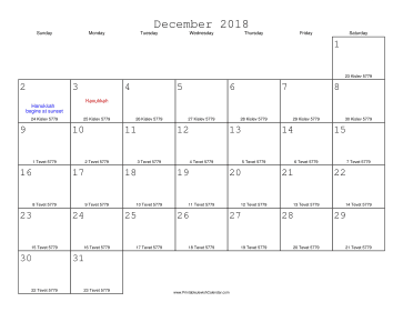 December 2018 Calendar with Jewish equivalents