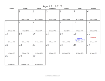 April 2019 Calendar with Jewish equivalents