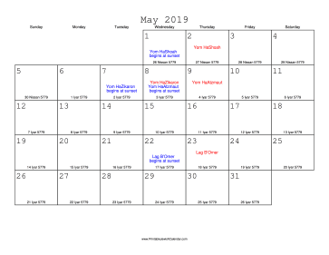 May 2019 Calendar with Jewish equivalents