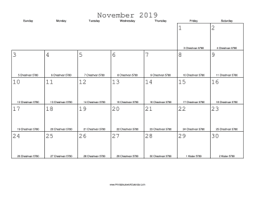 November 2019 Calendar with Jewish equivalents
