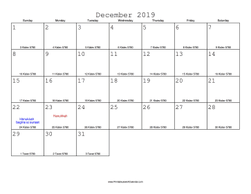 December 2019 Calendar with Jewish equivalents