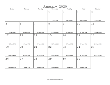 January 2020 Calendar with Jewish equivalents