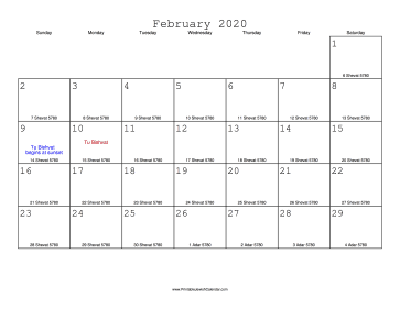 February 2020 Calendar with Jewish equivalents